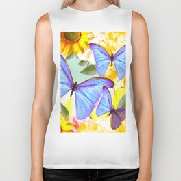 Bright Blue Butterflies Yellow Flowers #decor #society6 #buyart Biker Tank