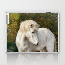 White horse in the autumn forest Laptop & iPad Skin