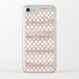 Rose Gold and Marble Decorative Square Tile Pattern Clear iPhone Case