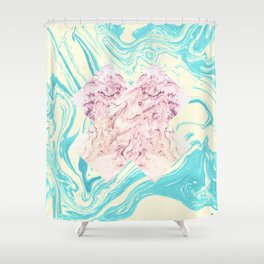 The X Marble File Shower Curtain