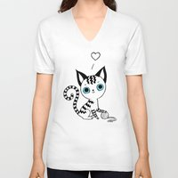 kitten V-neck T-shirts featuring Kitten by Freeminds