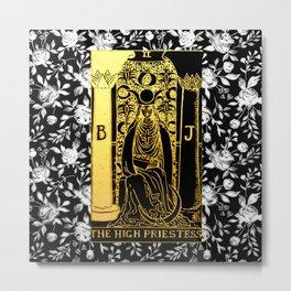 Floral Tarot Print - The High Priestess Metal Print