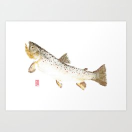 Brown Trout - Gyotaku Art Print