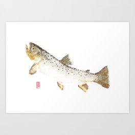 Brown Trout - Gyotaku Art Print