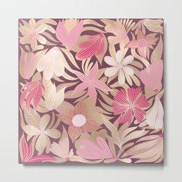Gold Pink Burgundy Floral Leaves Illustrations Metal Print