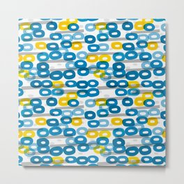Collapsed ring pattern blue and yellow Metal Print