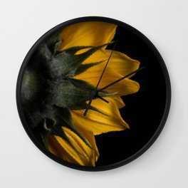 Backside of Sunflower Brush Strokes Digital Artwork Wall Clock