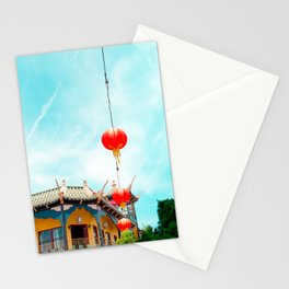 Travel photography Chinatown Los Angeles VI temple with lamps Stationery Cards