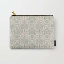 Ivory and Sage Green Damask Pattern Carry-All Pouch