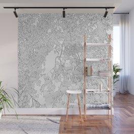 White Leaves Wall Mural