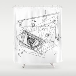 Mountain Vertices, Mt. Rainier, Black Geometric Shower Curtain