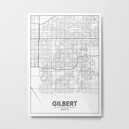 Minimal City Maps - Map Of Gilbert, Arizona, United States Metal Print