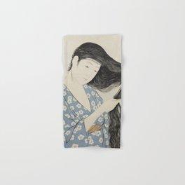 Goyō Hashiguchi Woman Combing Her Hair Japanese Woodblock Print Hand & Bath Towel