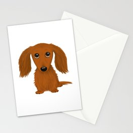 Longhaired Red Dachshund Stationery Cards