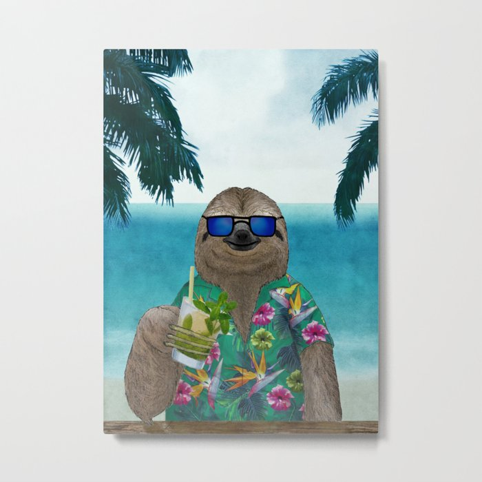 Sloth on summer holidays drinking a mojito Metal Print