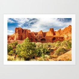 Orange Rocks, Blue Sky Art Print