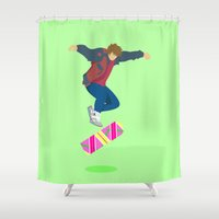 marty mcfly Shower Curtains featuring Marty Mc 360Flip by Jon Osés