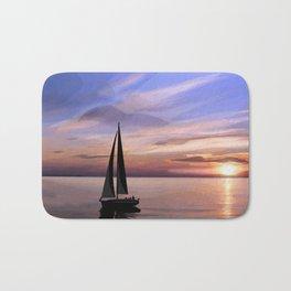 Sailing at sunset Bath Mat