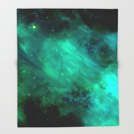 Teal Blue Indigo Sky, Stars, Space, Universe, Photography Throw Blanket