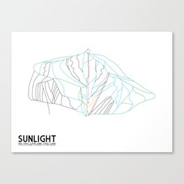 Sunlight Mountain Resort, CO - Minimalist Winter Trail Art Canvas Print