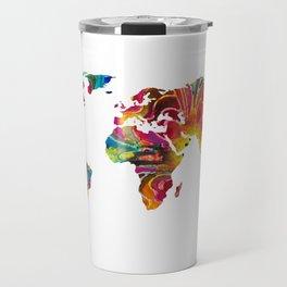 Map of The World 2 -Colorful Abstract Art Travel Mug