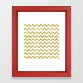 Chevron Gold And White Framed Art Print