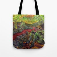 nietzsche Tote Bags featuring and again and again nietzsche by hankhenry