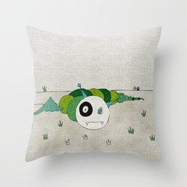 Green Toothworm Throw Pillow