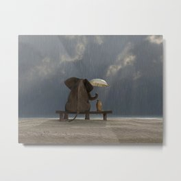 elephant and dog sit under the rain Metal Print