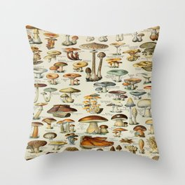 Mushrooms Vintage Scientific Illustration French Language Encyclopedia Lithographs Educational Throw Pillow