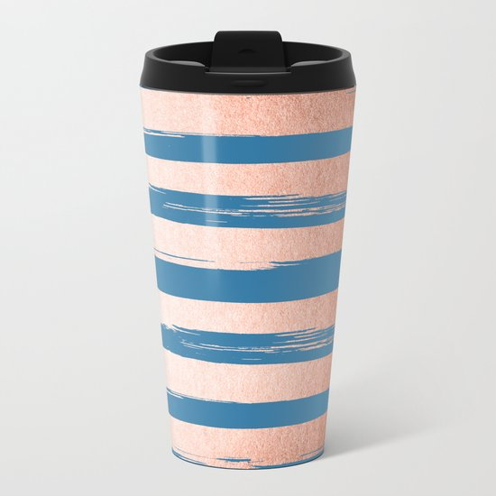 Trendy Stripes Sweet Peach Coral Pink + Saltwater Taffy Teal Metal Travel Mug
