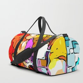 psychedelic geometric graffiti drawing and painting in orange pink red yellow blue brown purple and Duffle Bag