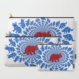 Dinosaur Fractal Print in Blue and Red Carry-All Pouch
