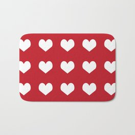 Hearts red and white minimal valentines day love gifts minimal gender neutral Bath Mat