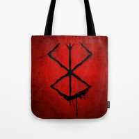 berserk Tote Bags featuring The Berserk Addiction by DesignDinamique