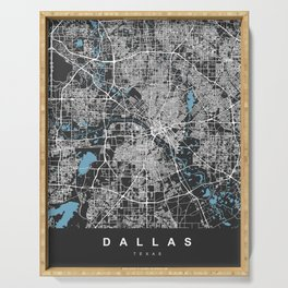 Dallas Map - Texas | Black & Blue | More Colors, Review My Collections Art Print Art Print Serving Tray