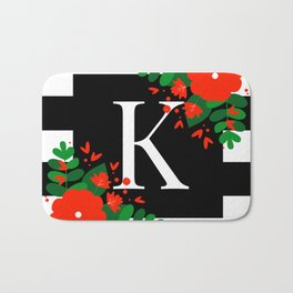 K - Monogram Black and White with Red Flowers Bath Mat