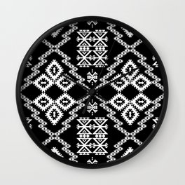 Black White Aztec 3 Wall Clock