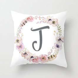 Floral Wreath - J Throw Pillow