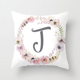 Floral Wreath - J Throw Pillow
