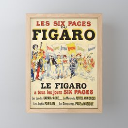 les six pages du figaro  caran vintage Poster Framed Mini Art Print