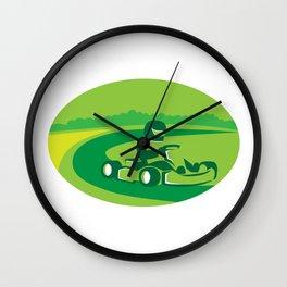 Go Kart Racing Oval Retro Wall Clock