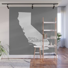 Home is California - state outline in gray Wall Mural