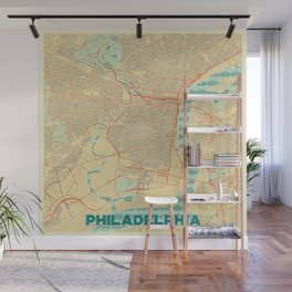 Philadelphia Map Retro Wall Mural