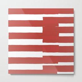 Big Stripes In Red Metal Print