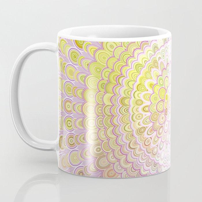 Mandala Flower in White and Yellow Coffee Mug