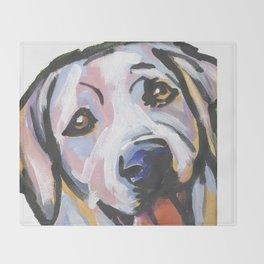 Yellow Lab Labrador Retriever Dog Portrait Pop Art painting by Lea Throw Blanket