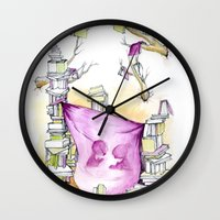 literary Wall Clocks featuring Literary Fort by Genevieve Santos