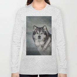Drawing Dog Alaskan Malamute Long Sleeve T-shirt