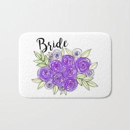 Bride Wedding Bridal Purple Violet Lavender Roses Watercolor Bath Mat